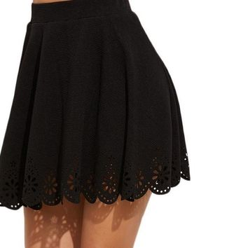 SheIn Womens Skirts Cute Ladies Skirts Mini Autumn Black Laser Cutout Scallop Hem Textured Above Knee A Line Skirt