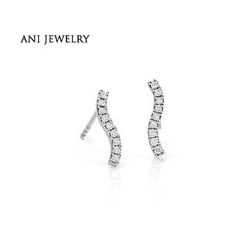 ANI 14K White Gold Women Stud Earrings 0.11 CT Certified I/S2 Real Natural Diamond Fine Jewelry Customized Design Stud Earrings