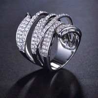 Vivid Ring Unique Shaped White Gold Plated CZ Diamond Pave Cocktail Rings