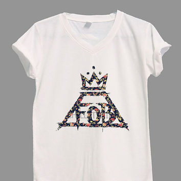 FOB Flora Shirt Fall Out Boy Shirts V-neck Shirt TShirt T Shirt Tee Shirts Women Size S,M,L,XL