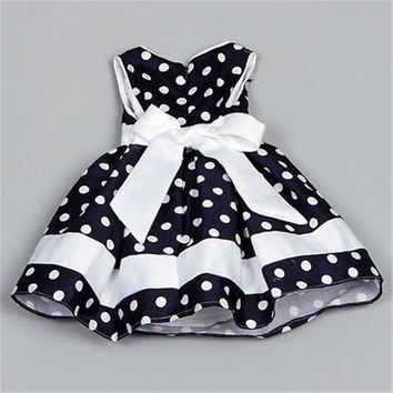 Blue Polka Dot Dress For Girls