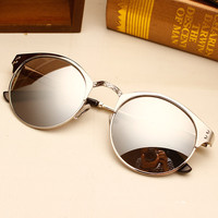 Ultra-textured Round Frame Sunglasses