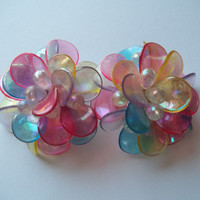 Vintage Pastel Translucent Flower Clip on Earrings