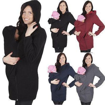 Jacket Kangaroo Warm Maternity Hoodies Outerwear Coat for Women