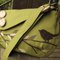 Singing Bird on a Branch shoulder bag with by LBArtworks on Etsy