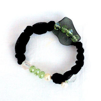 Fabric black bracelet Beaded bangle with recycled by lillicose