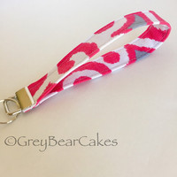 Pink and Gray Fabric Key Fob, Handmade Fabric keychain, Custom key chain, Fabric Lanyard
