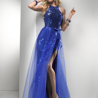 Cobalt Sequin Sheath & Tulle Strappy Prom Dress - Unique Vintage - Cocktail, Pinup, Holiday & Prom Dresses.