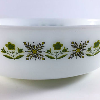 Vintage Anchor Hocking Fire King Meadow Green 1 1/2 Quart Casserole Dish White Milk Glass With Green Flowers