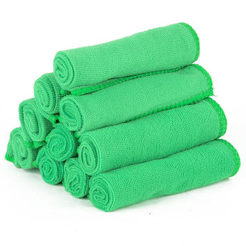 10pcs Green Microfibre Cleaning Auto Car Detailing Cloths Wash Towel Duster Soft Absorbent Wash Cloth Car Cleaning Accessories