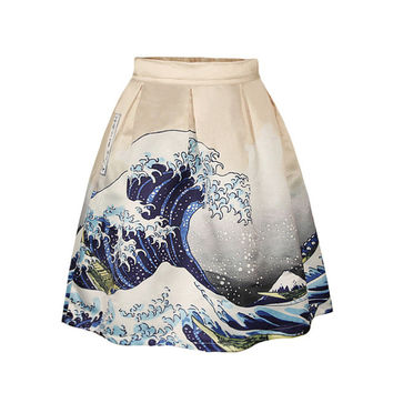 New Funny 3D Wave Oil Painting Color Emoji Cartoon Skirt