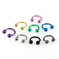 8Pcs Colorful Steel Horseshoe Nose Septum Rings Ear Rings Body Piercing Nariz Jewelry Piercng 3 Sizes Available 6  8 10 mm