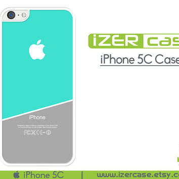 iPhone 5C Case iPhone 5C Cover iPhone 5C Rubber Case Tiffany Blue and Grey