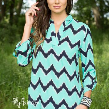 New Beginnings Chevron Blouse in Navy and Mint