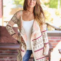 Day Dreamer Cardigan - Blush, Maroon and Cream
