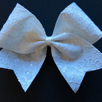 Cheer Bow - White Lace with Sequins