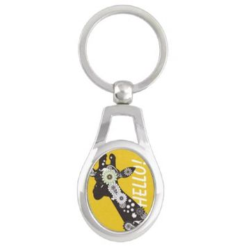 Funky Paisley Giraffe Cool Oval Keychains: Wild Animal Funny and Girly Design Key Chains: More Styles Available