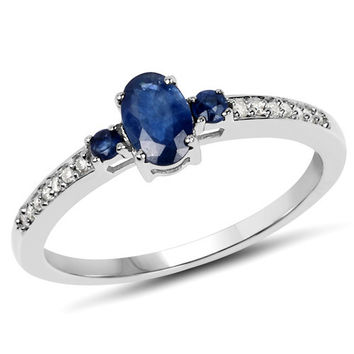 0.64 Carat Genuine Blue Sapphire & White Diamond 10K White Gold Ring