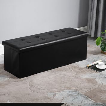 Foldable Rectangular Storage Ottoman Bench