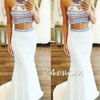 Custom Made White Mermaid 2 Pieces Long Prom Dress, Formal Dress