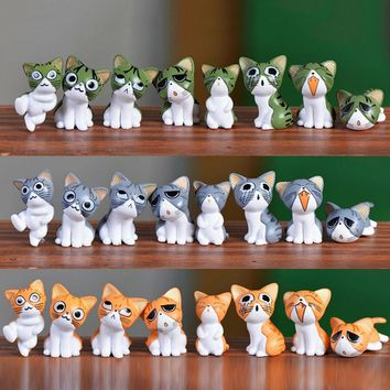 8pcs Kawaii Cheese Cats Kitty Statue Miniatures Resin Kitten Cat Figurines Mini Garden Figures Decoration for Home Kids Toys Top