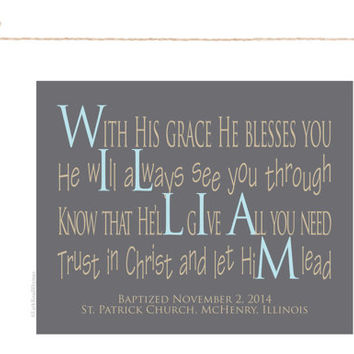 Baptism Gifts for Boys, 8x10 Paper Print, Gifts Unique Christian Gift, William