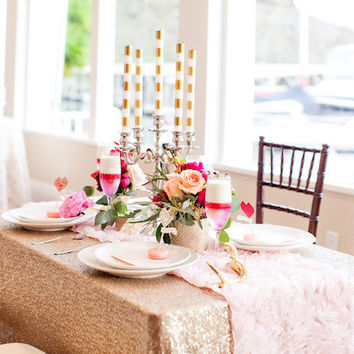 Champagne Sequin Tablecloth Wedding