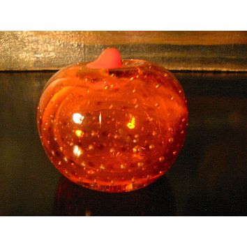Orange Glass Paperweight Bold Stem Controlled Bubbles