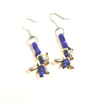 Dangle earrings, Silver and Blue Earrings,Teddy Bears climb Brilliant Blue leather, Free Shipping