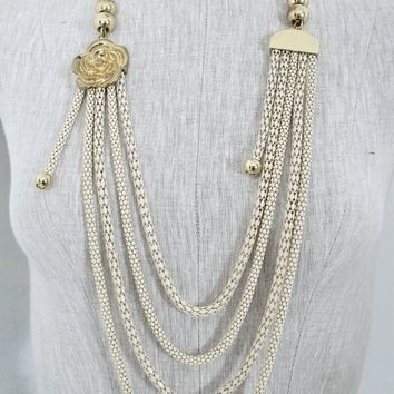 Vintage 1980s White Scales + Multi Strand Necklace