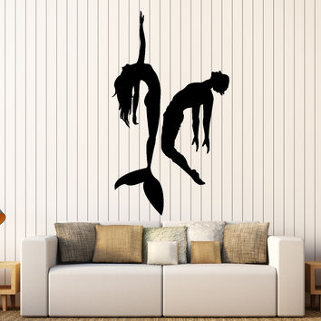 Wall Vinyl Decal Mermaid And Lover Swimming Romantic Love Decor Unique Gift z4066