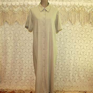 Beige Linen Dress Plus Size 1X Button Up Dress Short Sleeve Maxi Dress Casual Dress Long Dress Day Dress Plus Size Clothing Womens Clothing