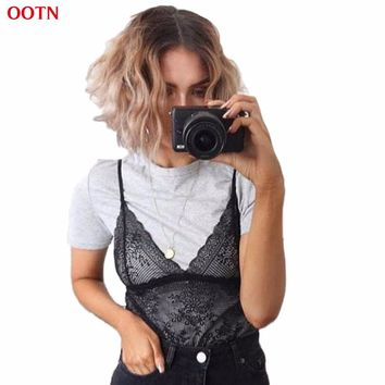 OOTN V Neck Crop Tops Female Lace Women Camisole Tank Top Ruffles Summer Spaghetti Strap Hollow Out Cropped See Through Outfit