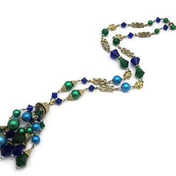 Beaded Tassel Necklace - Teal Green Blue Beads, Gold Tone, Lucite, Faux Pearl Costume Jewelry