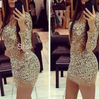 Hot Selling 2016 MGS Tulle Scoop See Through Beaded Sequined Short Mini Cocktail Dresses Long Sleeves Sparkly Shinny Party Gowns