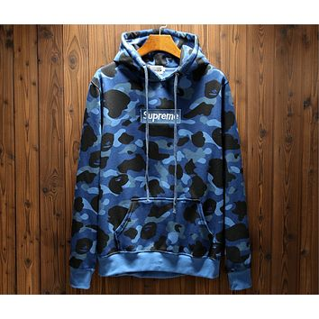 Supreme x Bape joint series camouflage sultry men and women zipper sweater F-A-KSFZ blue