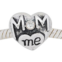 European charm metal bead heart Mom with stone and Me