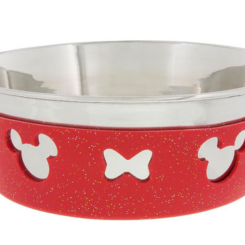 Disney Parks Minnie Bow Silicone on Metal Medium Pet Bowl New