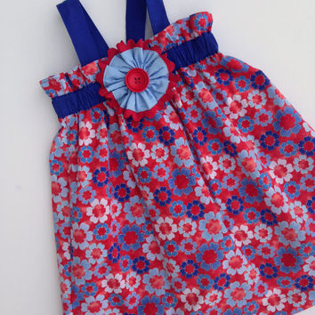 Red white and blue dress, Paper Bag Dress, Patriotic Dress, Sundress with hairclip