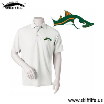 Skiff Life White Polo Fishing Shirt Snook embroidered in Green & Orange