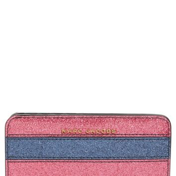 MARC JACOBS Glitter Stripe Compact Leather Wallet | Nordstrom