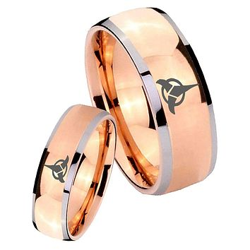 His Hers Rose Gold Dome Klingon Two Tone Tungsten Wedding Rings Set