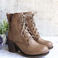 amelia distressed bootie - khaki