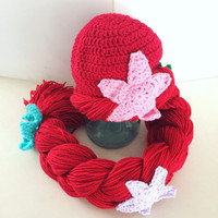 Mermaid hat, mermaid wig, mermaid hat for toddlers, red haired wig, princess hat for toddlers, halloween costume for girls
