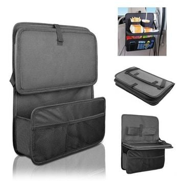 DCCKH0D Car Seat Organizer / Travel Storage Bag / Auto Seat Back Organizer with Foldable Food Tray Table Mesh Pockets Drinks Holder