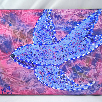 Original Bird Painting - Sparrow - Blue Pink and Purple - 8x10 - Colorful Painting