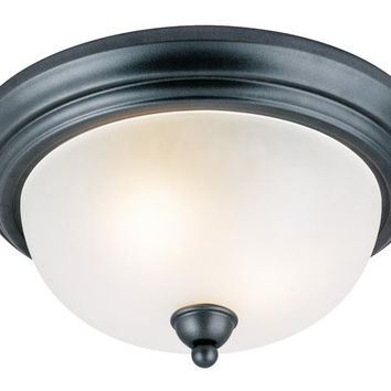 Two-Light Indoor Flush-Mount Ceiling Fixture, Iron Granite Finish with Frosted Glass
