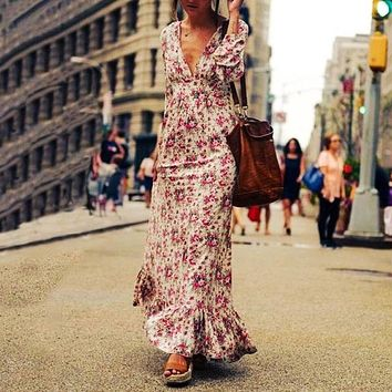 Women's Casual Boho Maxi Dress Summer long sleeve Deep neck Falbala Floral Ankle Long bohemian Dress