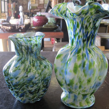 1964-1968 Fenton Vasa Murrhina Green Adventure 5 in and 7 in Vases