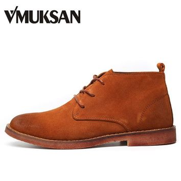 VMUKSAN Men Leather Boots Fashion Suede Chukka Boot Men's Shoes Moc Toe 2017 New Mens